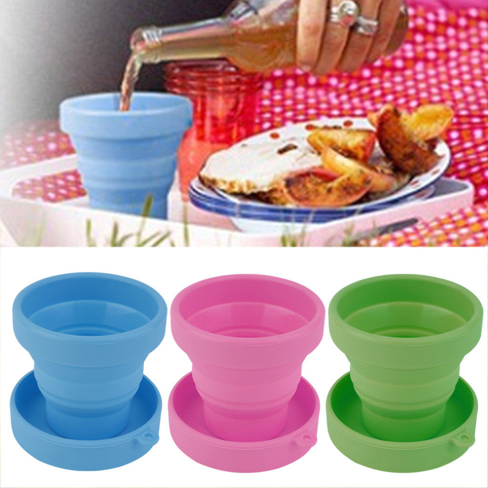 Portable Silicone Retractable Folding Water Cup Outdoor Travel Telescopic Collapsible Soft Drinking Cup 8X4.3X7CM free shipping red portable-silicone-retractable-folding-water-cup-ou