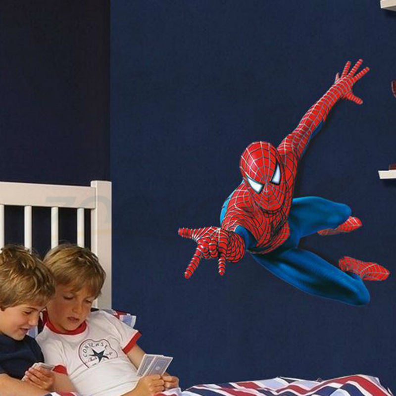 Superman Spiderman giant wall stickers adhesive for kids room wall 3D sticker Spider-man decoration decals Kids Room Decor *  superman-spiderman-giant-wall-stickers-adhesive-fo