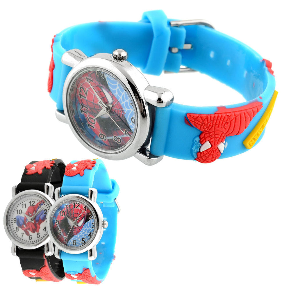 Hot New Fashion Rubber Blue Cartoon Child Boys Kid Chilren Analog Quartz Spider Man Marvel Wrist Watch Blue hot-new-fashion-rubber-blue-cartoon-child-boys-kid