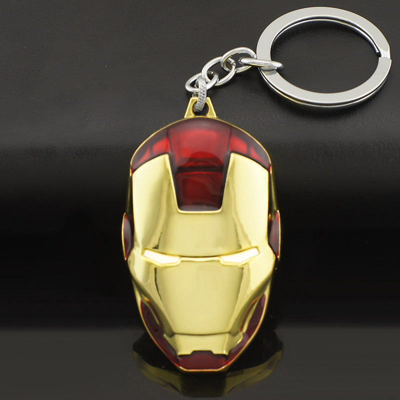 Marvel Comics Super Hero Avengers Iron Man Mask Metal KeyRings Key Chains Purse Bag Buckle Key Holder Accessories Gift K103 Blue marvel-comics-super-hero-avengers-iron-man-mask-me