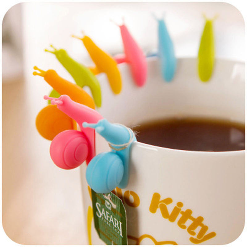 5 PCS Cute Snail Shape Silicone Tea Bag Holder Cup Mug Candy Colors Gift Set GOOD Random Color  5-pcs-cute-snail-shape-silicone-tea-bag-holder-cup