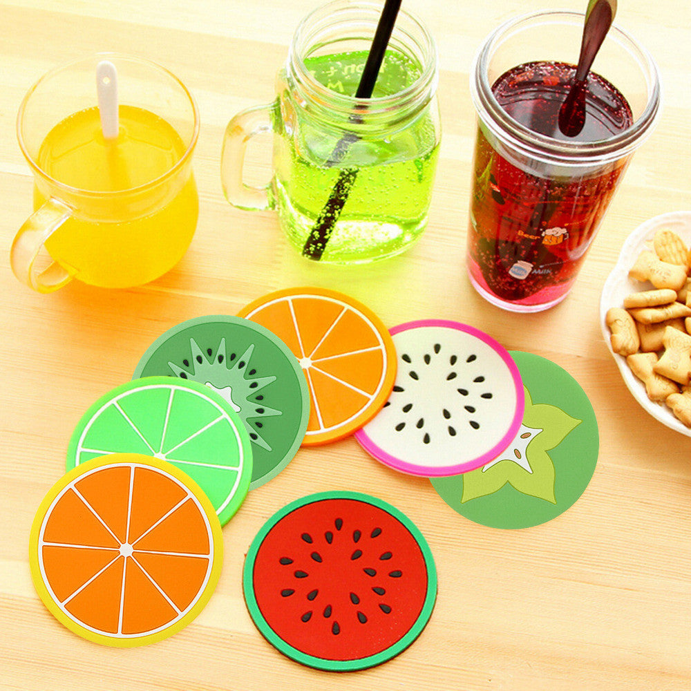 Cute Colorful Silicone Fruits Coaster Cup Cushion Holder Drink Placemat Mat Home Decorates Drop Shipping Oranges cute-colorful-silicone-fruits-coaster-cup-cushion-
