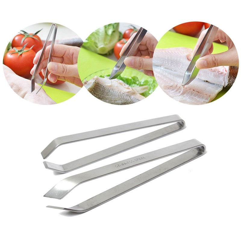 Stainless Steel Fish Bone Remover Pincer Puller Tweezer Tongs Pick-Up Tool Craft Fish Bone Tweezers Animal Fur Tool Kitchen  stainless-steel-fish-bone-remover-pincer-puller-tw