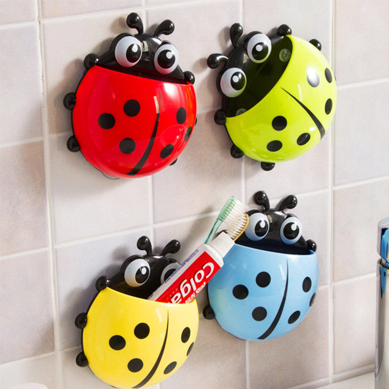 Cute Ladybug Cartoon Sucker Toothbrush Holder Suction Hooks 4 Colors Household Items Toothbrush Rack Bathroom Set Green cute-ladybug-cartoon-sucker-toothbrush-holder-suct