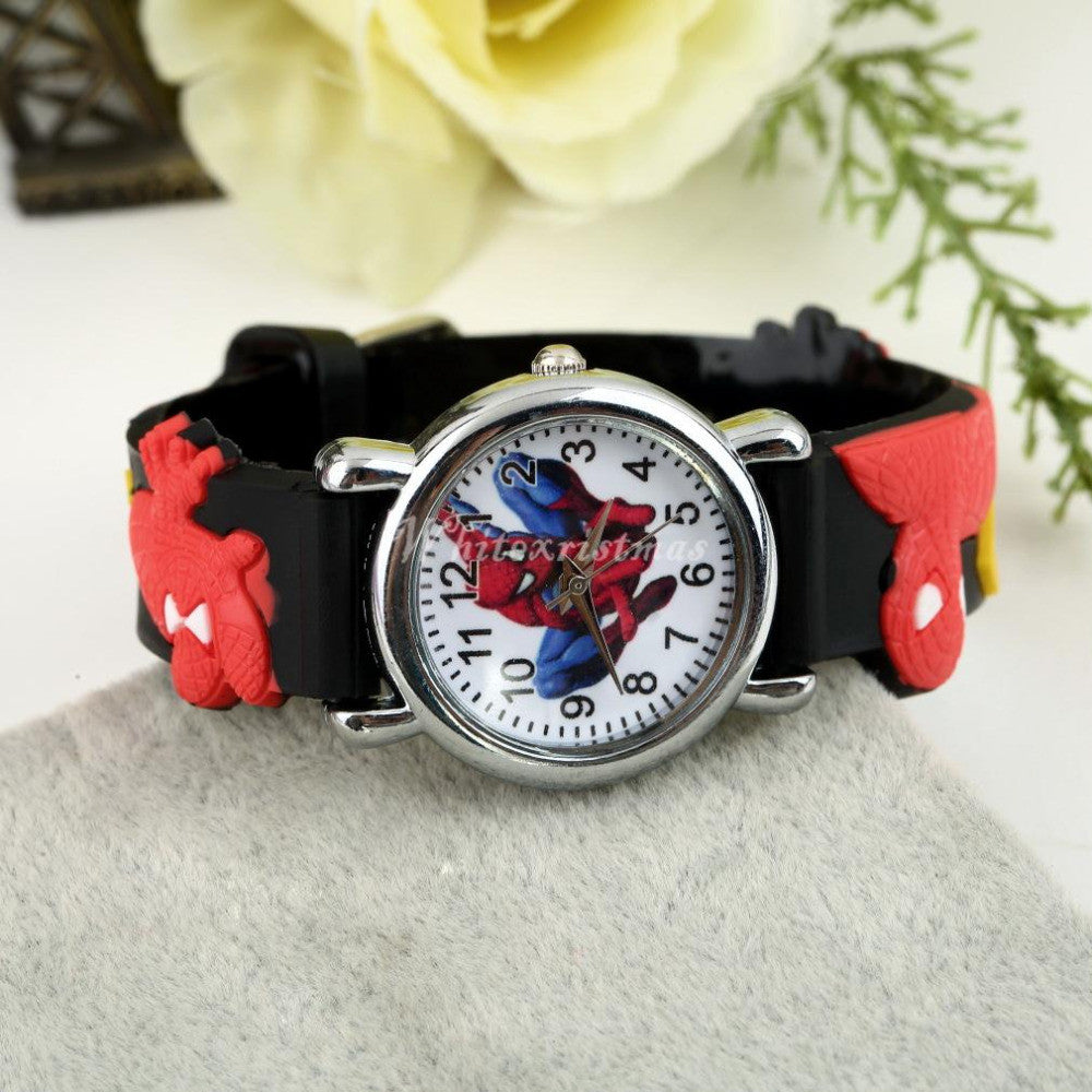 Free shipping spiderman watches children cartoon watch kids cool 3d rubber strap quartz watch clock hours gift relojes relogio  free-shipping-spiderman-watches-children-cartoon-w