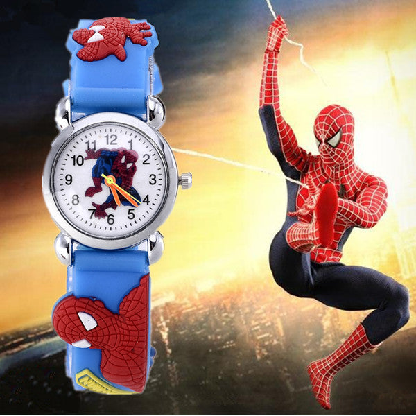2015 Hot Sale Spiderman Watches Children Cartoon Watch Kids Cool 3D Rubber Strap Quartz Watch Clock Hours Gift Relojes Relogio blue 2015-hot-sale-spiderman-watches-children-cartoon-w