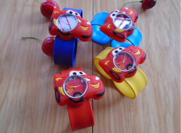 Free shipping Cartoon cars slap on kids children boys wrist watch silicone jelly sports red free-shipping-cartoon-cars-slap-on-kids-children-b