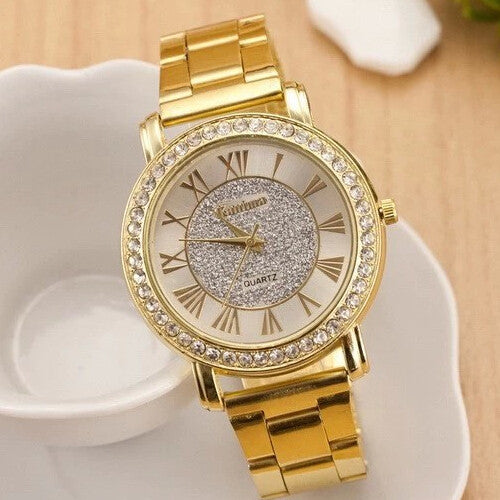2015 New Famous Brand  Gold Arenaceous Rhinestone Casual Quartz Watch Women Full Steel Watches Luxury Watches Relogio Feminino rosy gold 2015-new-famous-brand-gold-arenaceous-rhinestone-c