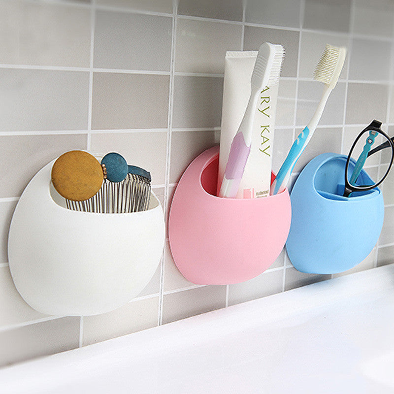 PracticalToothpaste Toothbrush Holder Wall Suction Cup Organizer Kitchen Bathroom Storage Rack Free Shipping White practicaltoothpaste-toothbrush-holder-wall-suction