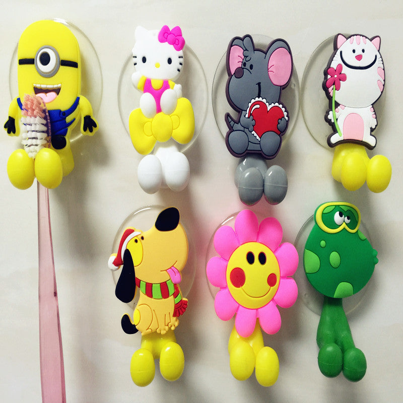Hot Sale Cute minion Hello Kitty Cartoon suction cup toothbrush holder bathroom accessories 24 colors Free shipping rabbit hot-sale-cute-minion-hello-kitty-cartoon-suction-c