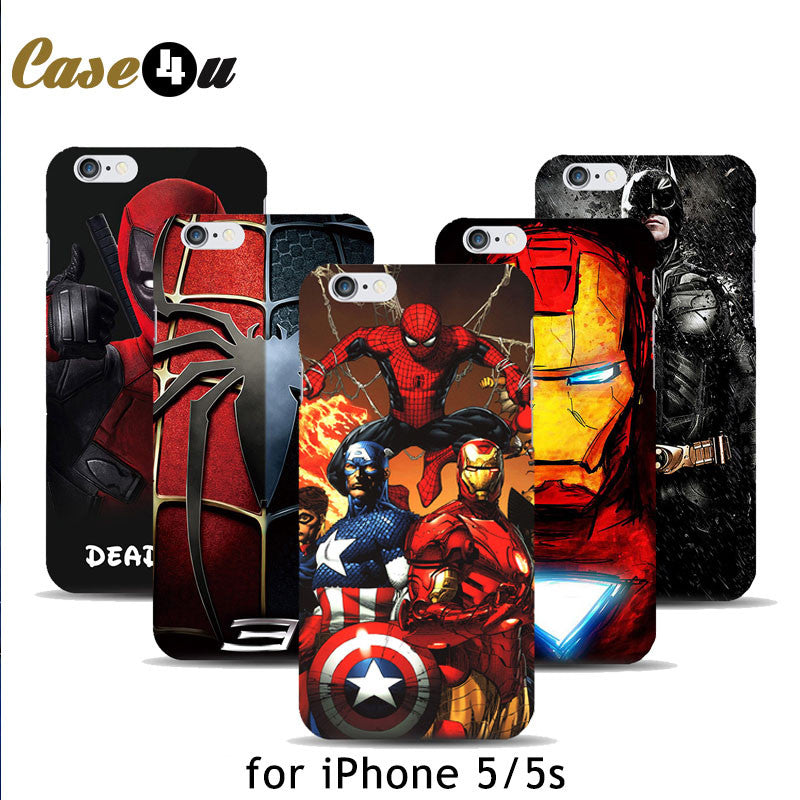 Marvel Avengers Captain America Shield  Iron man Hard Case Cover for fundas iPhone 5 5s Spiderman Deadpool Painted Pattern M01 marvel-avengers-captain-america-shield-iron-man-ha