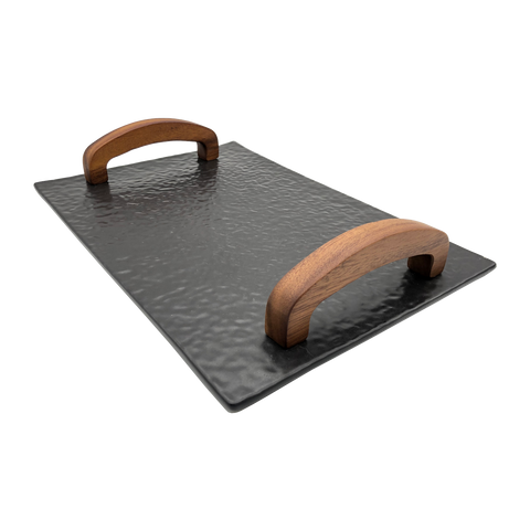 Ceramic Slate Tray with Wooden Handles - SANGO