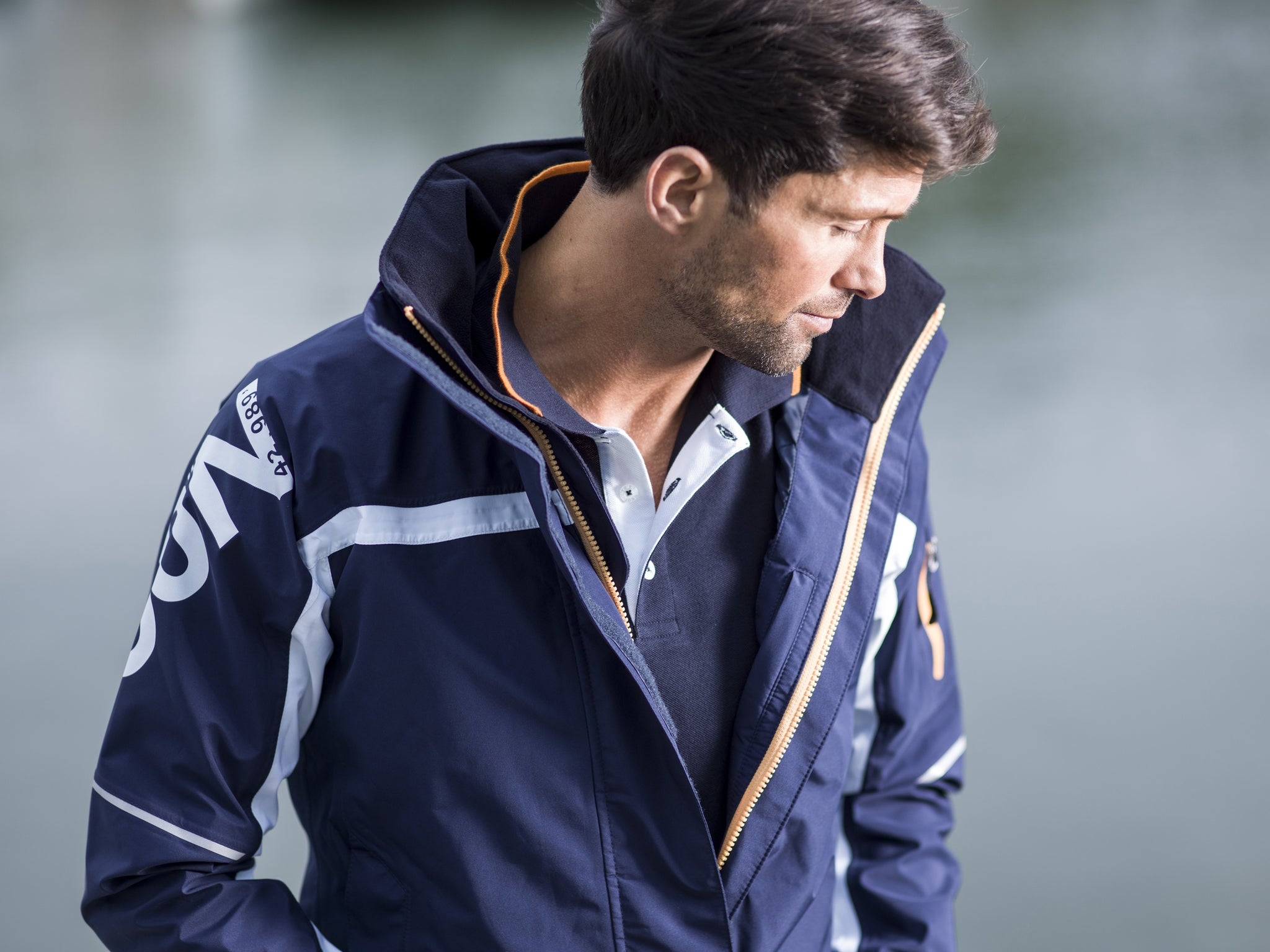 Atlantic Jacket Navy / Solar Orange