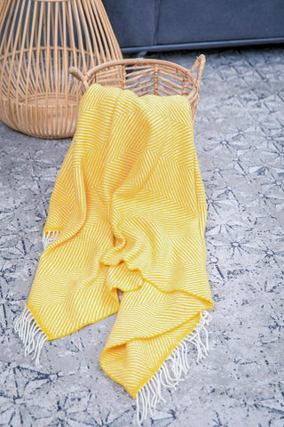 yellow foxford woollen mills throw