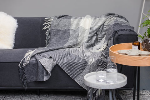 cashmere grey and white large check throw, foxford cashmere throw