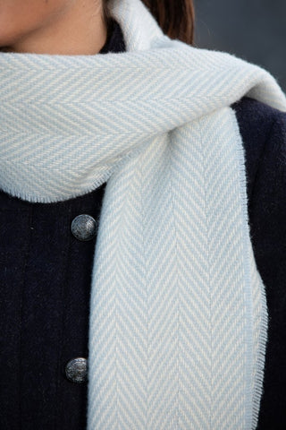Blue and White Cashmere Scarf