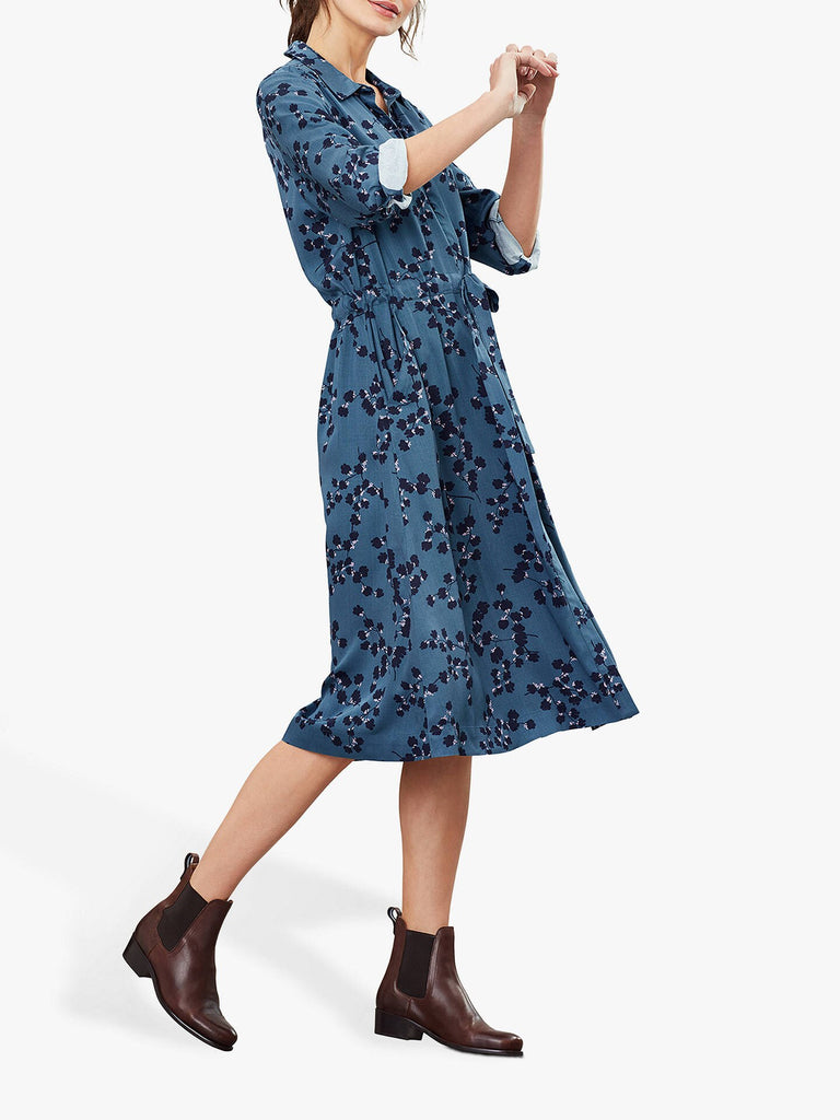 Joules Winslet Long SLeeve Button Front Shirt Dress - Teal Blossom