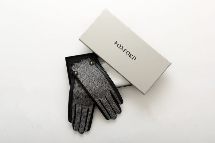 Black and Grey Herringbone Ladies Leather Gloves