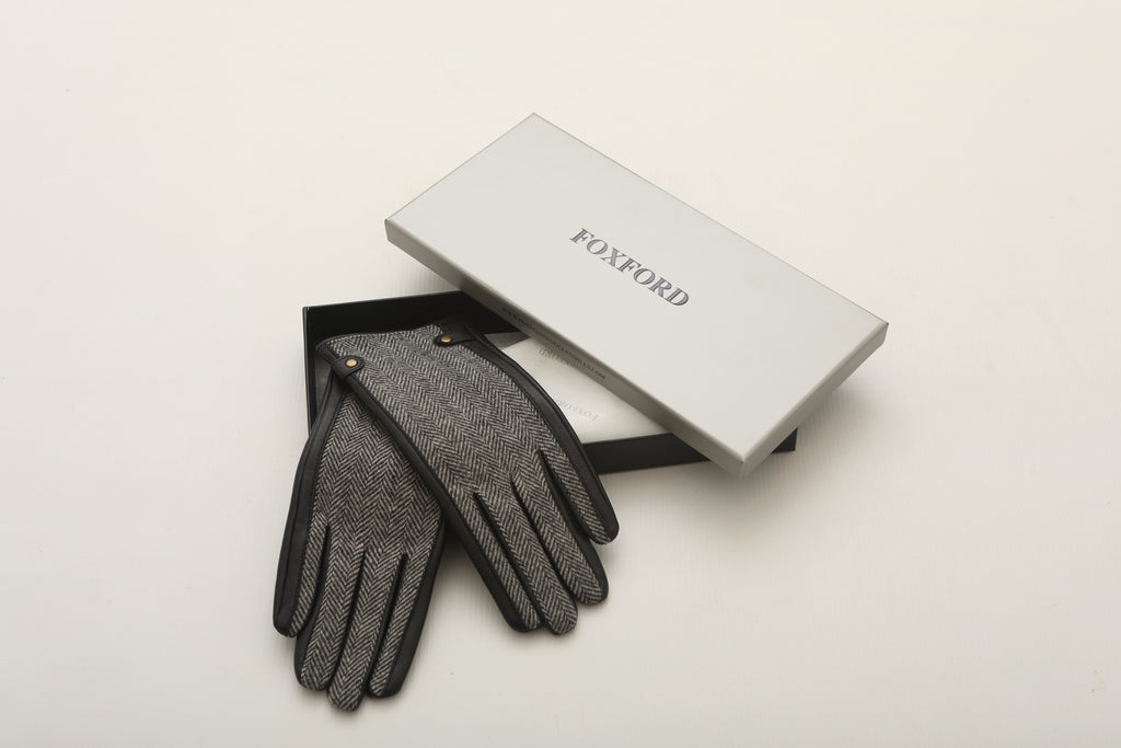 Black and Grey Herringbone Black Leather Gloves
