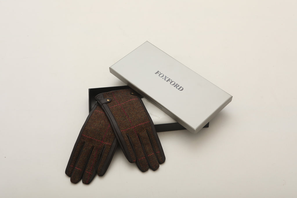 Brown and Green Herringbone with Pink Stripe Brown Leather Gloves