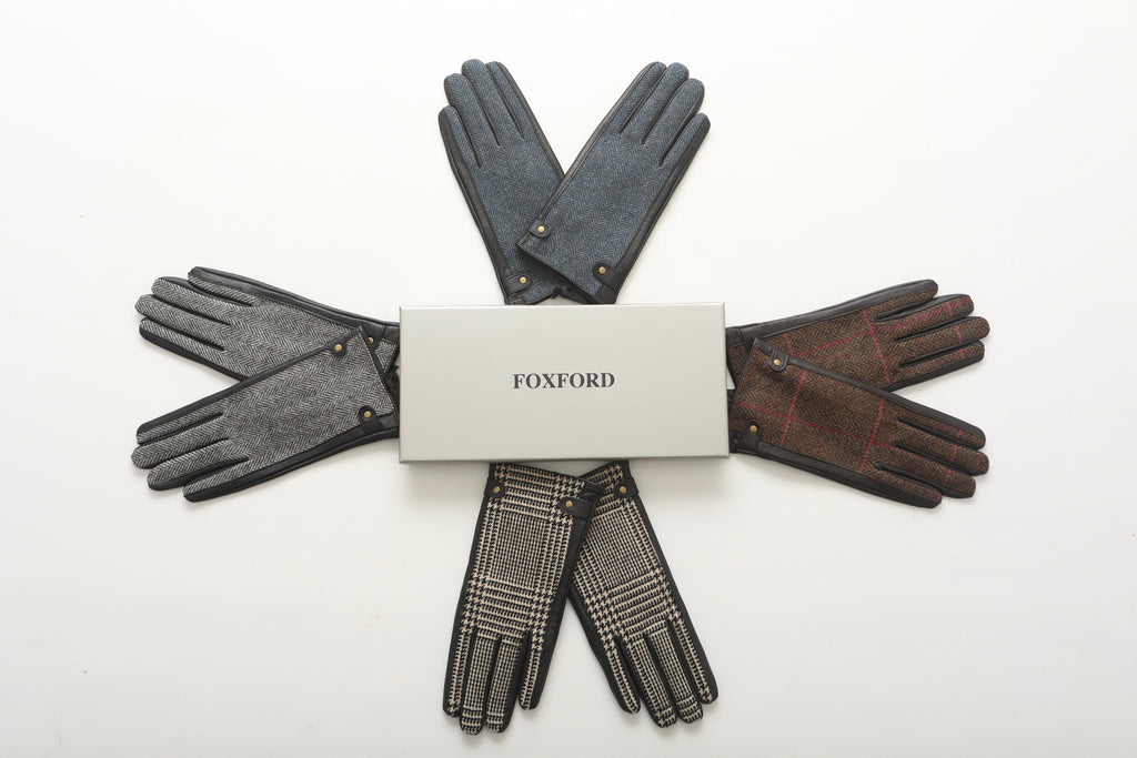Blue and Black Herringbone Ladies Leather Gloves