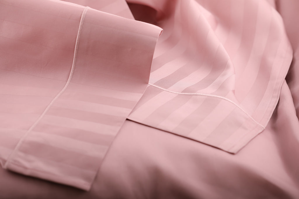Foxford Classic Sateen Stripe Flat Sheet in Dusty Pink