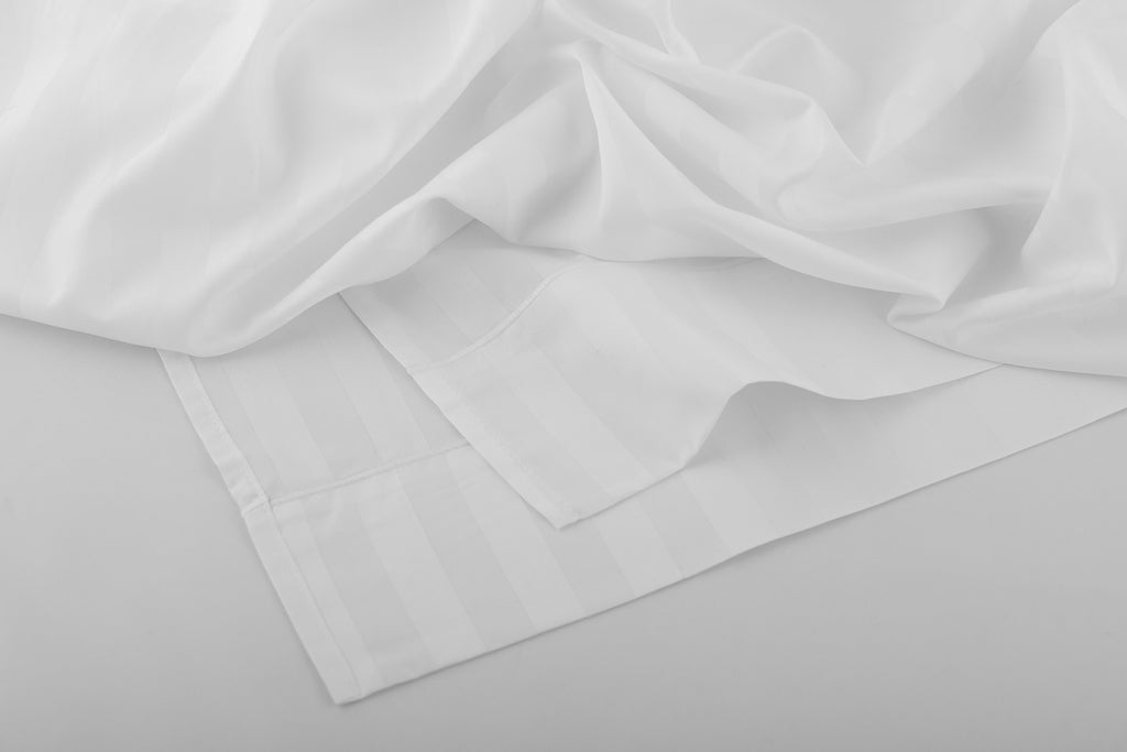 The Classic Bundle -Sateen Stripe in White