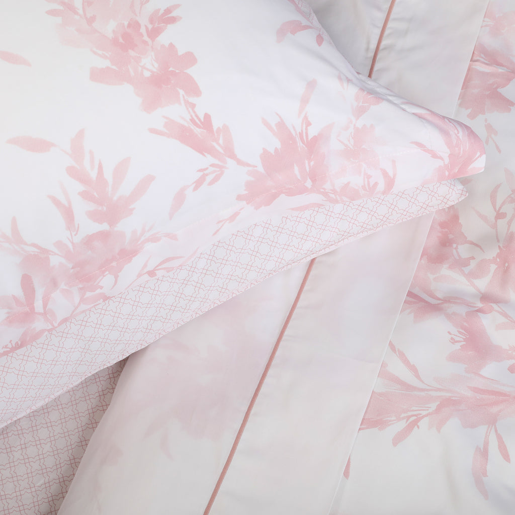 White & Pink Satin Stitch Square Oxford Pillowcase - Pair