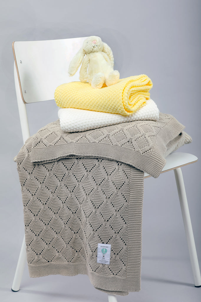 Foxford Cotton Baby Blanket - Biscuit