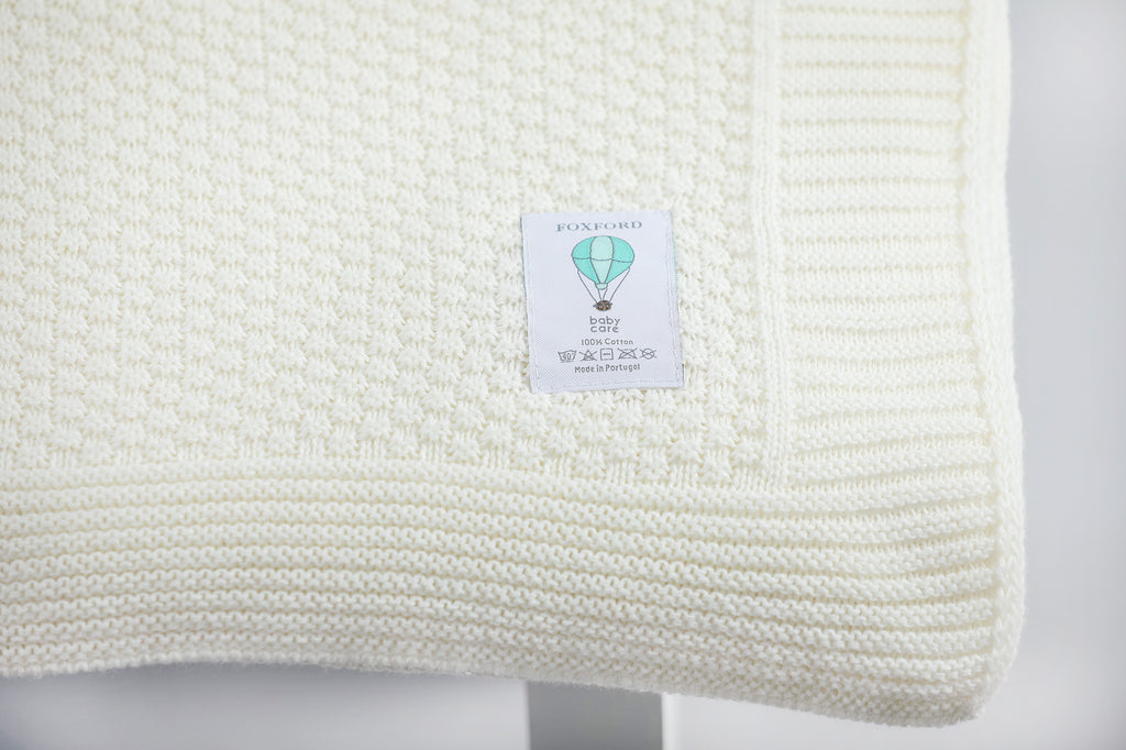 Foxford Cotton Baby Blanket - Pure White