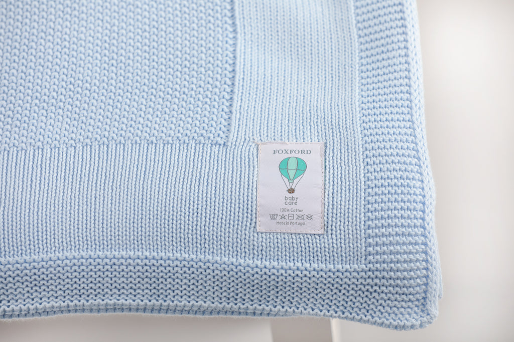 Foxford Cotton Baby Blanket - Powder Blue