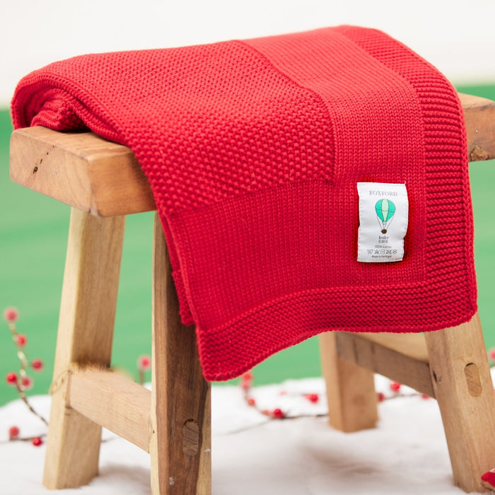 Foxford Red Cotton Baby Blanket