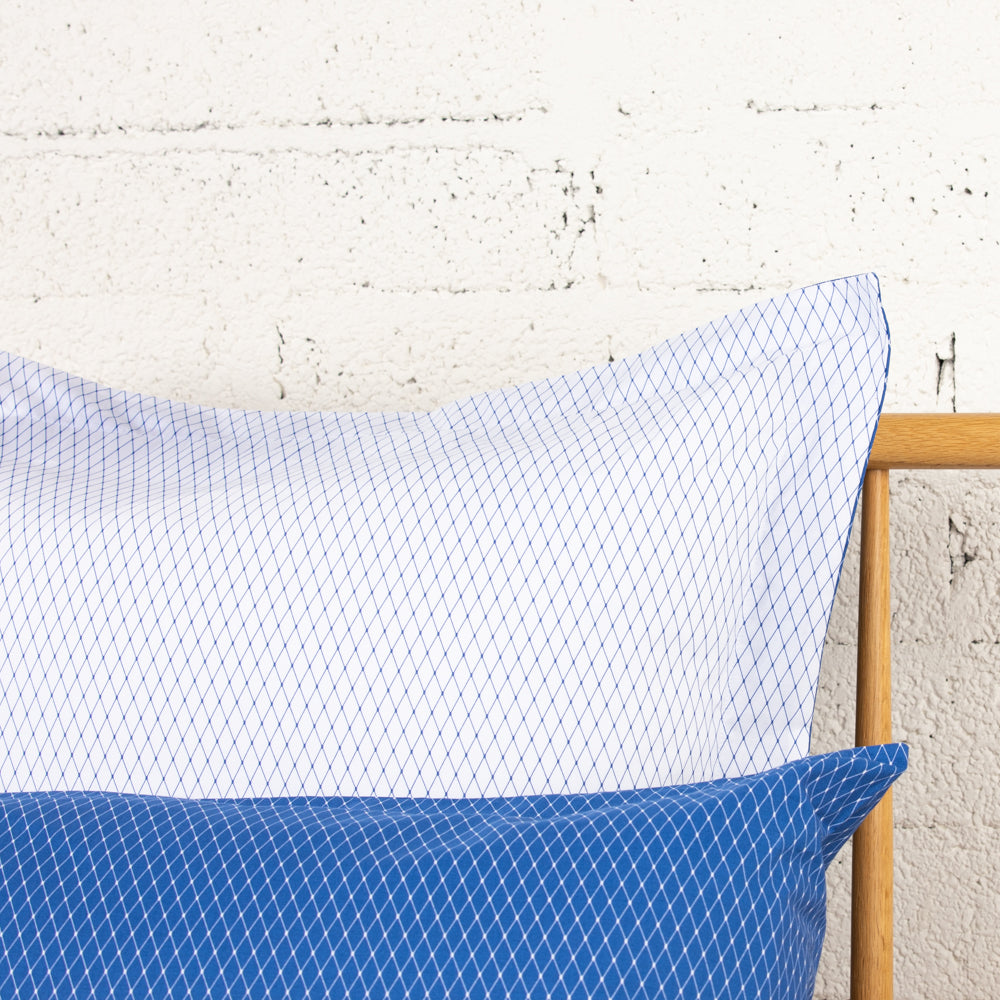 Blue & White Trellis Housewife Square Pillowcase - Single