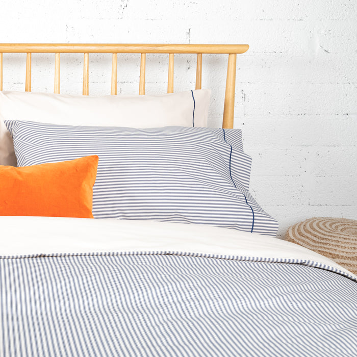 Navy Ticking & Solid Cream Duvet Cover