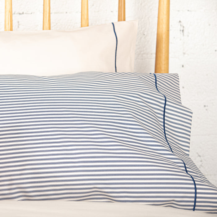 Navy Ticking Housewife Pillowcase - Pair