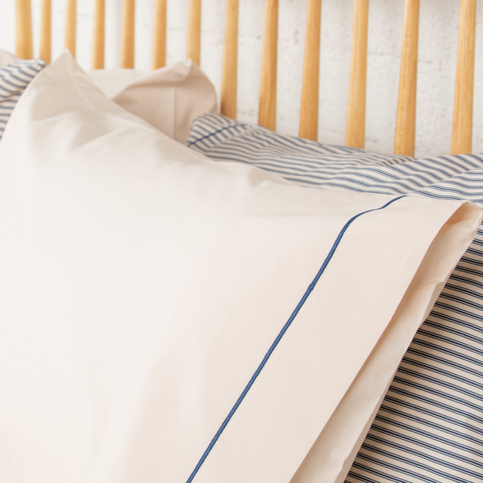 Solid Cream with Navy Rolenio Housewife Pillowcase - Pair