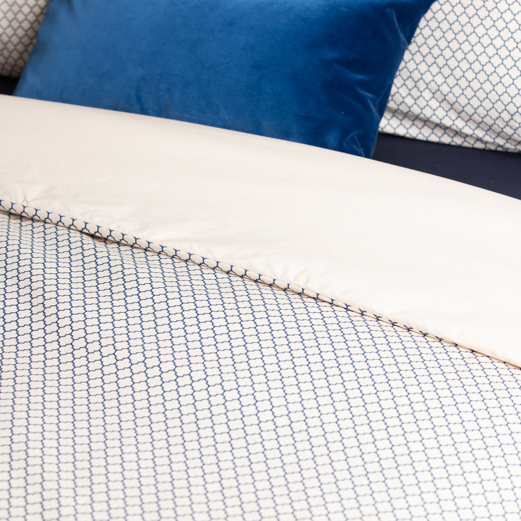 Navy Honeycomb & Solid Cream Duvet Cover
