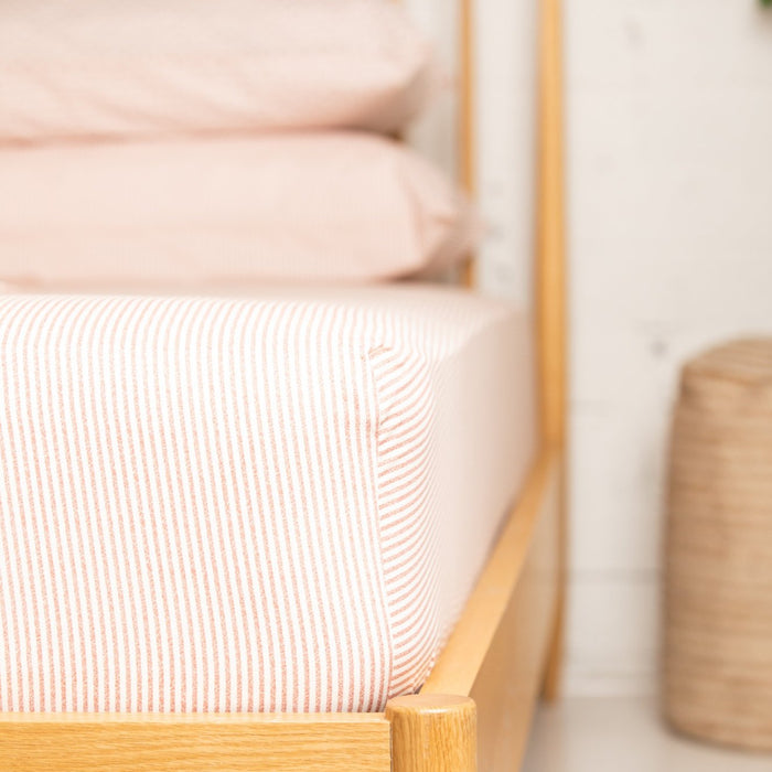 Terracotta & Cream Stripe Fitted Sheet