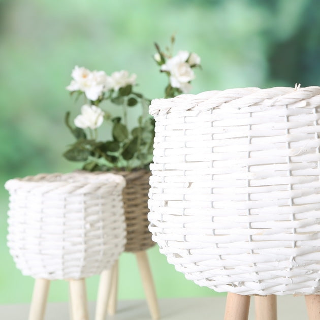 White Woven Plant Pot Stand