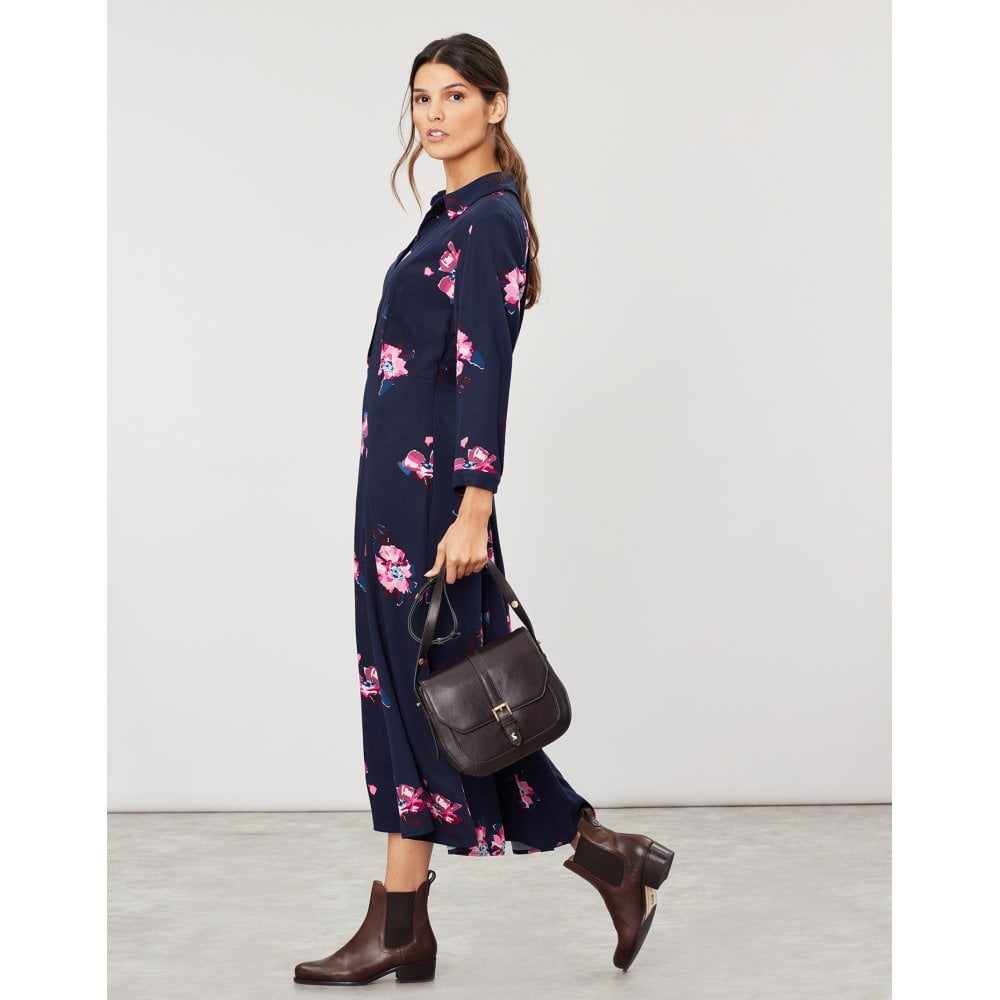 Carla Long Sleeved Shirt Dress - Navy Floral