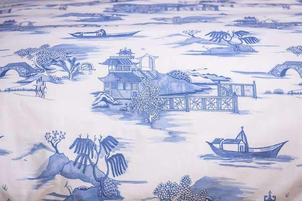 Blue Willow Toile Bed Linen Set