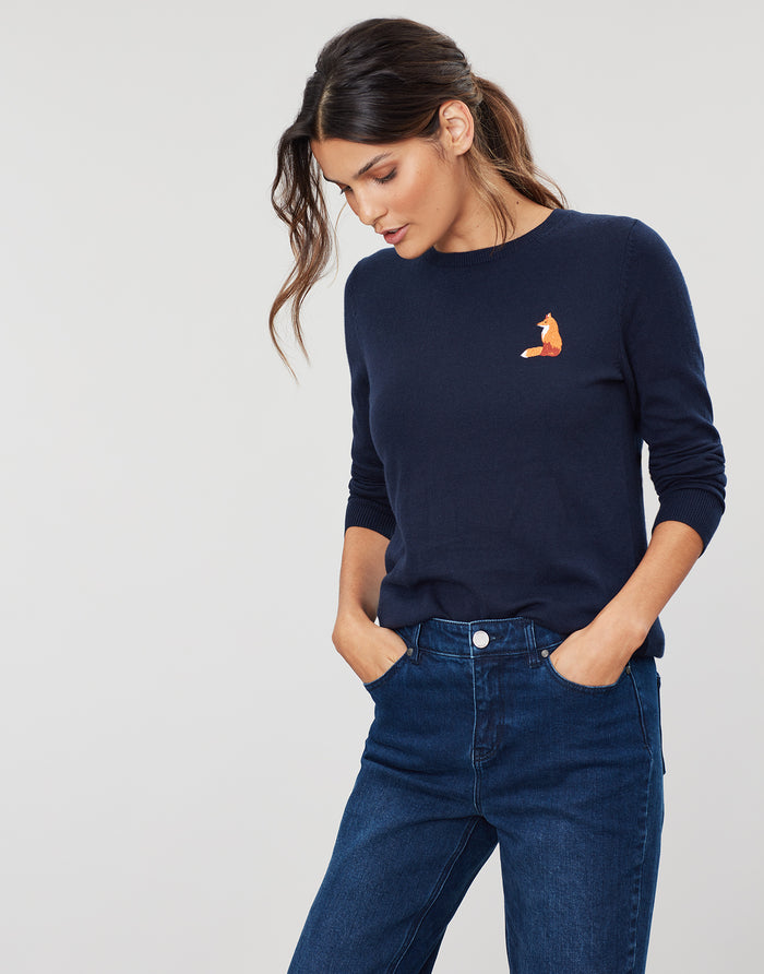 Joules Asha Crew Neck Jumper - Navy Fox