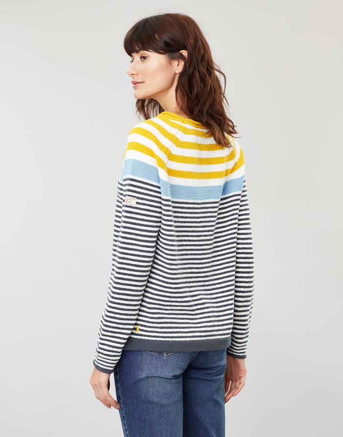 Joules Seaport Jumper - Cream/Grey/Blue/Gold