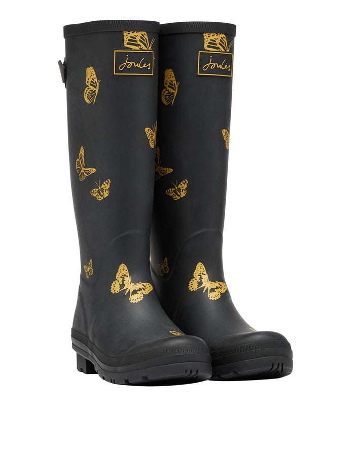 Joules Printed Welly with Back Gusset - Black Butterfly