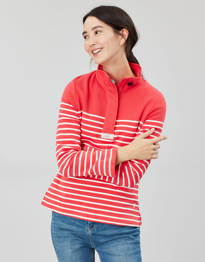 Joules Saunton Classic Sweatshirt - Red/Cream
