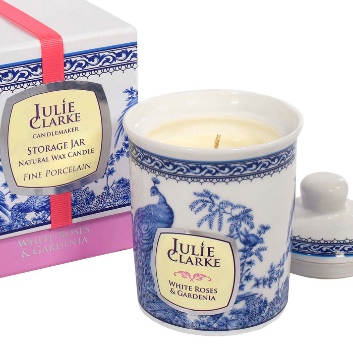 White Roses and Gardenia Peacock Candle