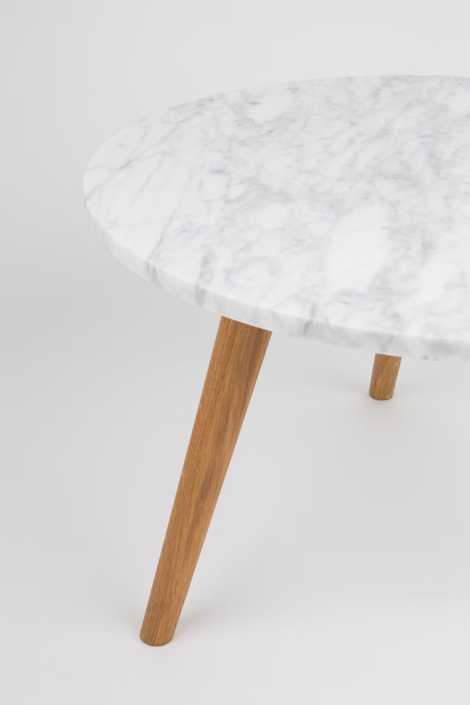 Medium Stone Side Table - White