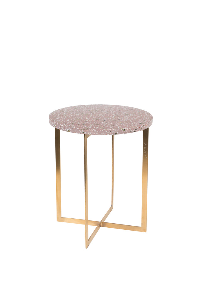 Luigi Round Side Table - Dark Red