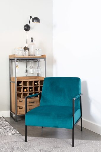 Teal Vintage Lounge Chair - Velvet