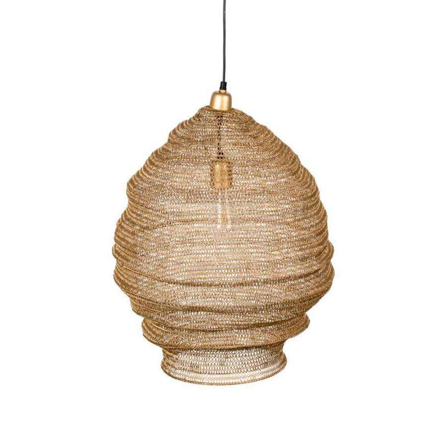 Medium Mesh Metal Lamp-  Brass